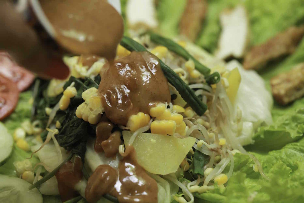 Peanut dressing on Indonesian Gado-Gado salad