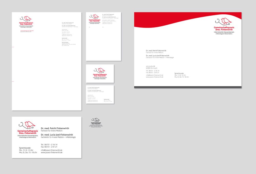 Logo, Geschäftsausstattung, Beschilderung und Web-Visitenkarte für »Gemeinschaftspraxis Dres. Finkenwirth«, Arztpraxis