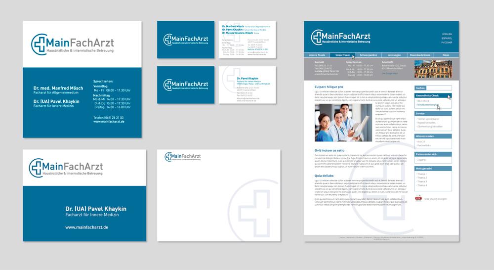 Logo, Visitenkarten, Beschilderung, Powerpoint-Vorlagen und Website für »MainFachArzt«, Arztpraxis
