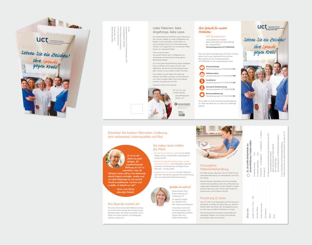 """""""UCT – Universitäres Centrum für Tumorerkrankungen""""  am Universitätsklinikum Frankfurt/Main Folder: DIN Lang, 8 Seiten, Wickelfalz"""