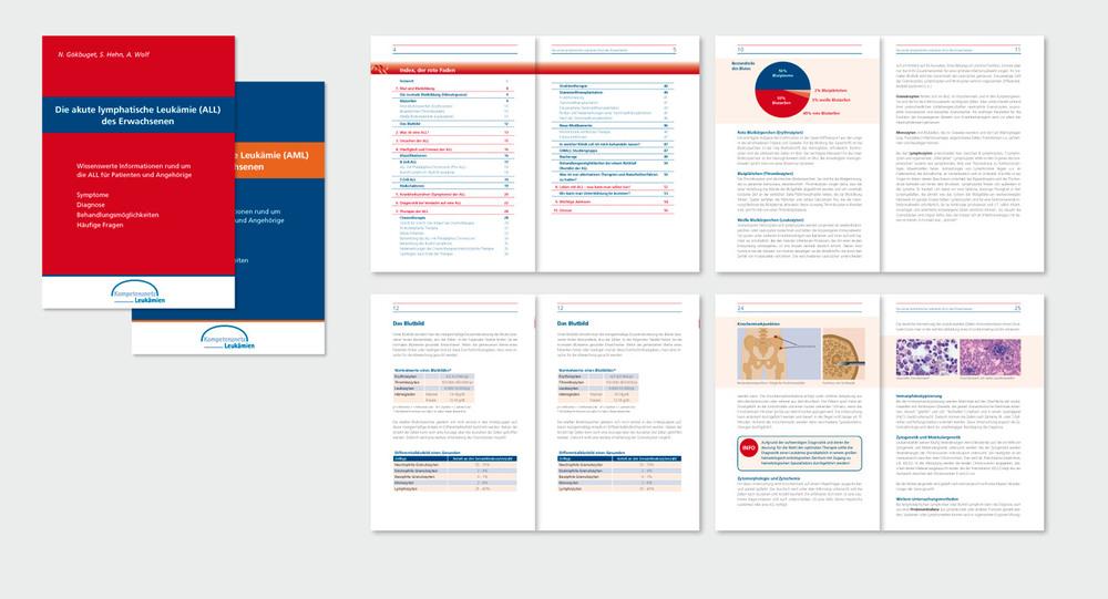 """Broschüren zu  ALL (Akute Lymphatische Leukämieund)  und  AML (Akute Myeloische Leukämie)  für das """"Kompetenznetz Leukämie"""", Frankfurt/Main (A5, 64 Seiten/52 Seiten)"""
