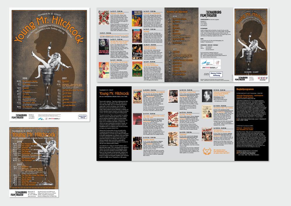HITCHCOCK-Filmreihe  – Schauburg Filmtheater, Karlsruhe Plakat (A1), Anzeige (90x130 mm) und Programmfolder (Format: DIN Lang, 10 Seiten, 4-Bruch-Parallelwickelfalz)