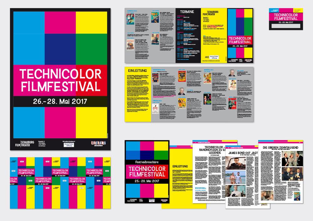 TECHNICOLOR-Filmfestival 2017  – Schauburg Filmtheater, Karlsruhe Plakat (A1), Programmfolder (Format: DIN Lang, 10 Seiten, 4-Bruch-Parallelwickelfalz), Bauzaunbanner (3400x1730 mm), Festivalpass und  Festivalbroschüre  (Format A4; 24 Seiten)