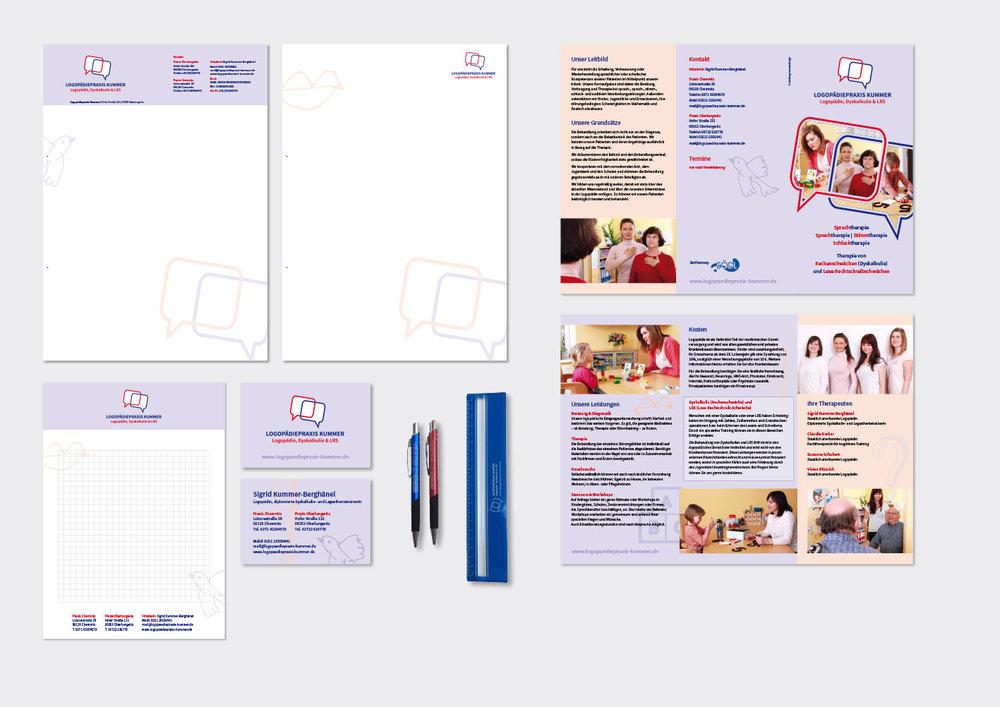 Logo, Geschäftsausstattung, Folder (Wickelfalz auf DIN Lang), Notizblock (A5), Stifte und Lineal für »Logopädiepraxis Kummer«   www.logopaediepraxis-kummer.de