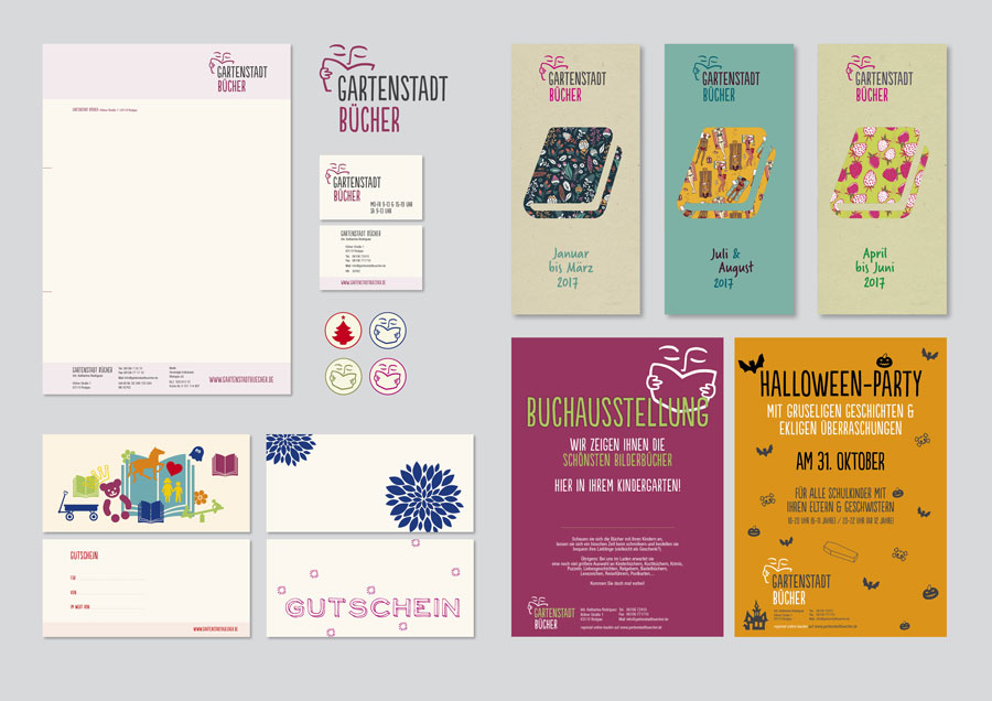 Logo, Briefbogen & Visitenkarte, Gutscheine, Aufkleber, Folder & Plakate für »Gartenstadt Bücher«, Buchhandlung