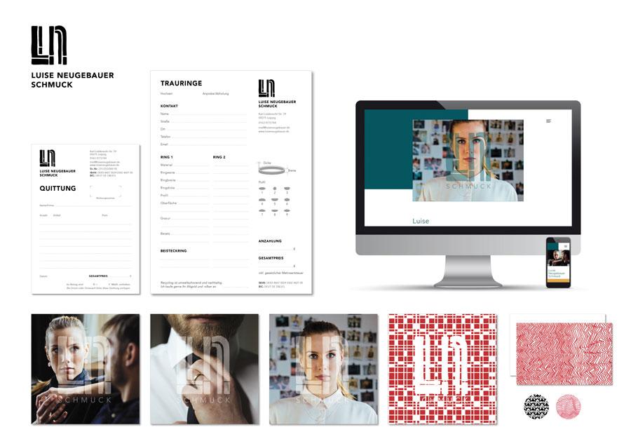 Logo, Folder, Visitenkarte, Aufkleber, Quittungsblock, Bestellbogen & Website für »Luise Neugebauer – Schmuck«, Schmuckdesignerin   www.luiseneugebauer.de