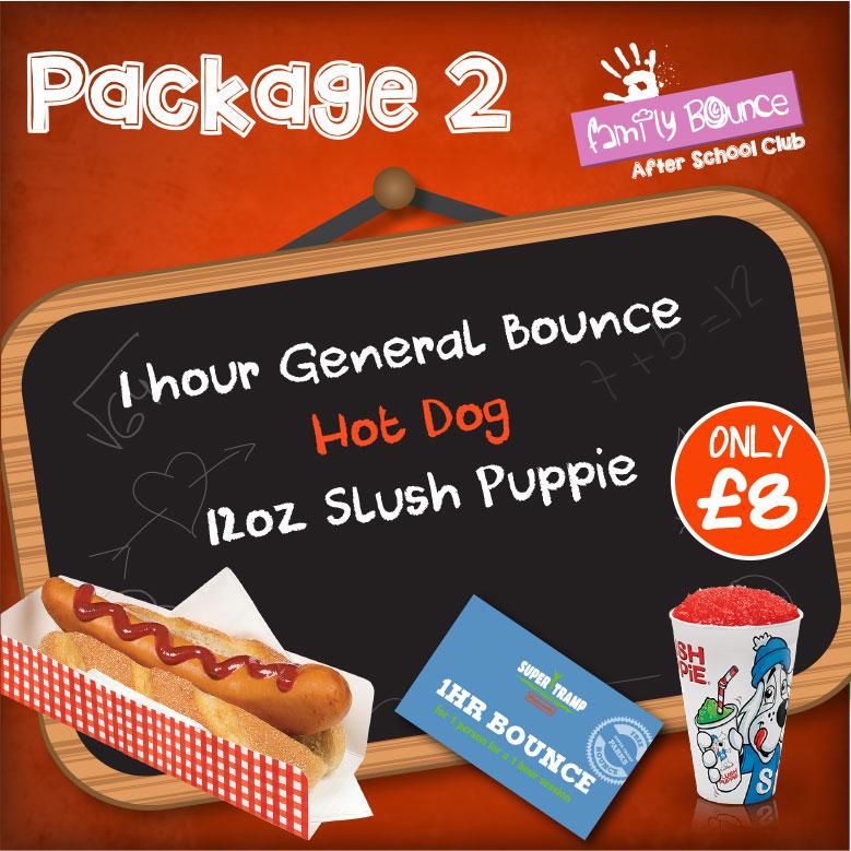 Package 2 = Bounce, hotdog, 12oz slush, - £8