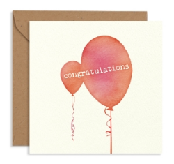 Water Coloured Shapes 'Balloons' Card