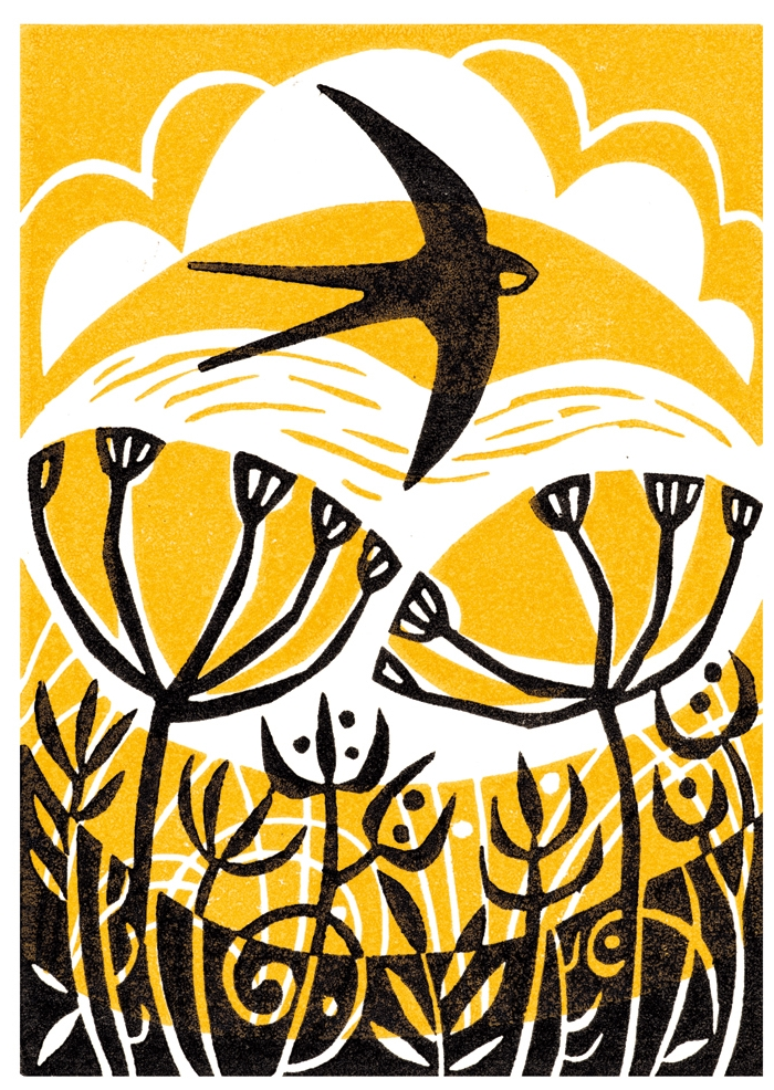 Evening Swallow by Mandy Beeching part of Glebe Cottages range printed on coffeee cup board.jpg