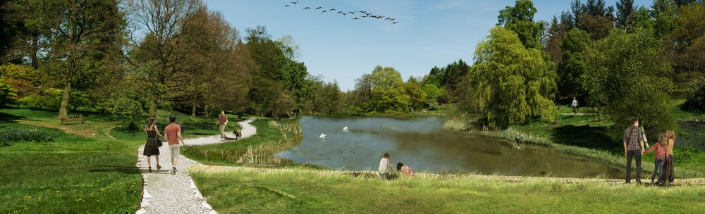 Artist's impression of the restored lake area