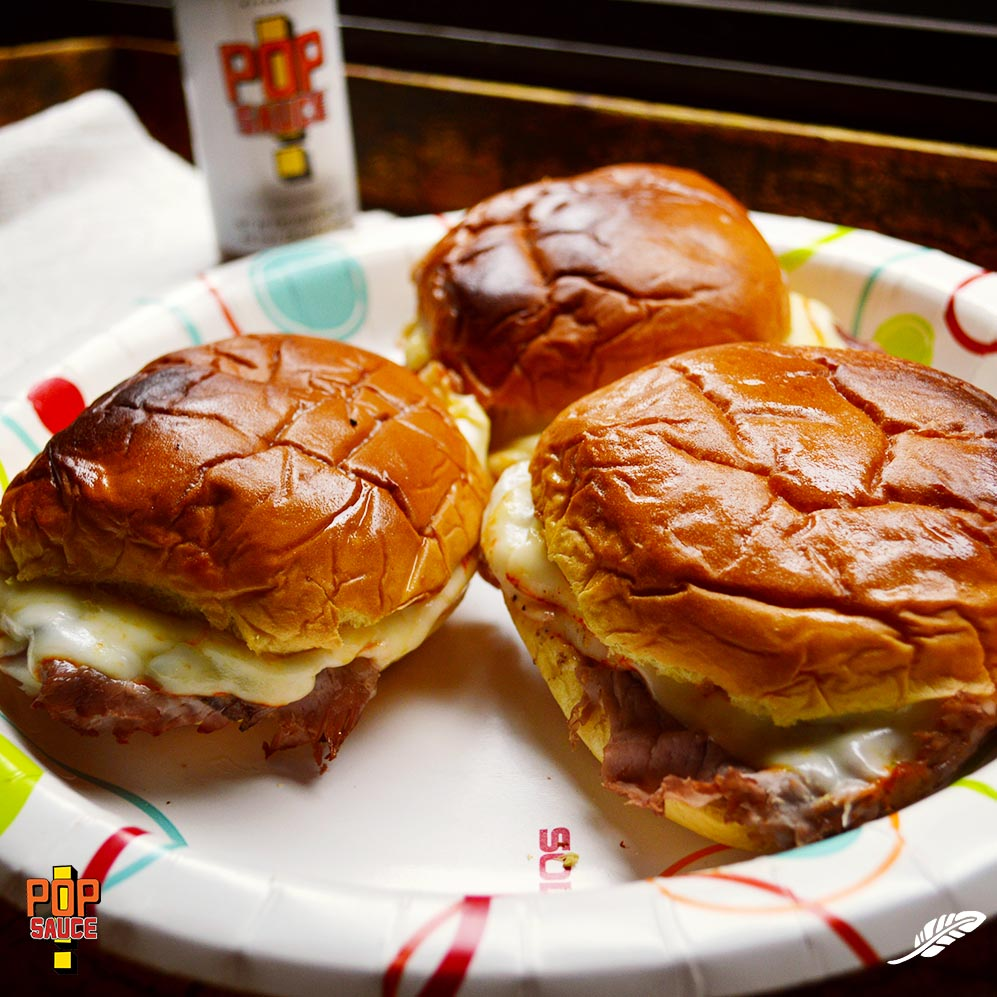 Oven-Toasted Roast Beef, Muenster Cheese, Pop Sauce Sandwich, on Butter-Brushed Martin's Potato Rolls