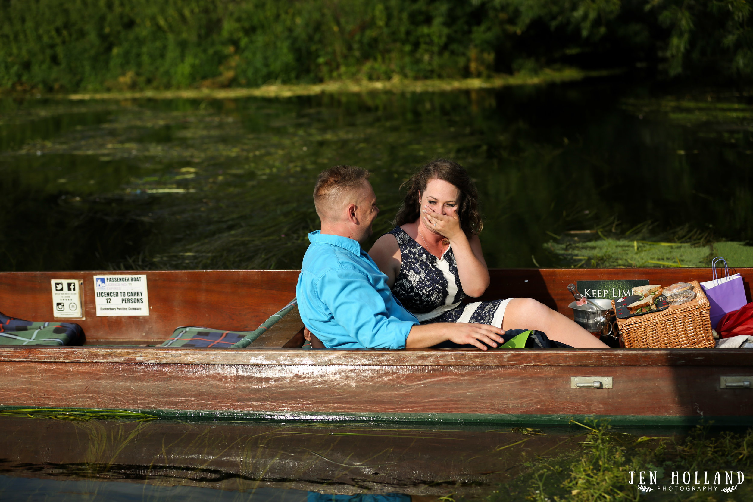 Jim proposing to Stacy in the river Stour (Canterbury Punting)