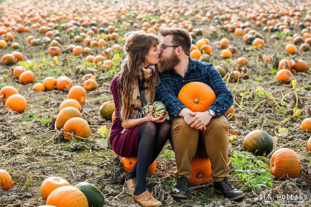 Engagement shoot pumpkin picking in September
