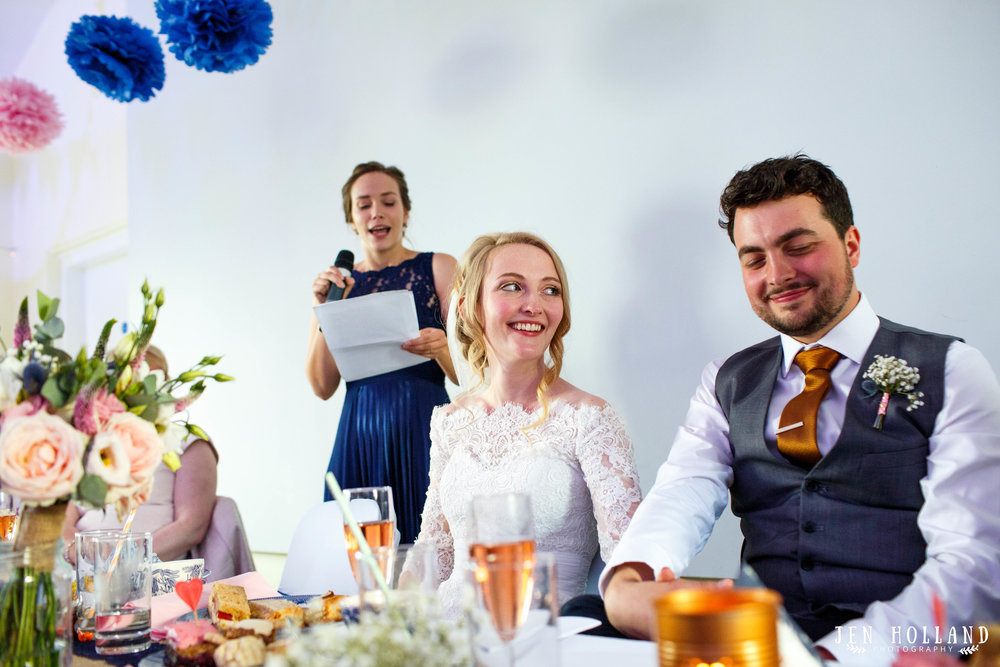 Bride-and-groom-listening-to-speeches