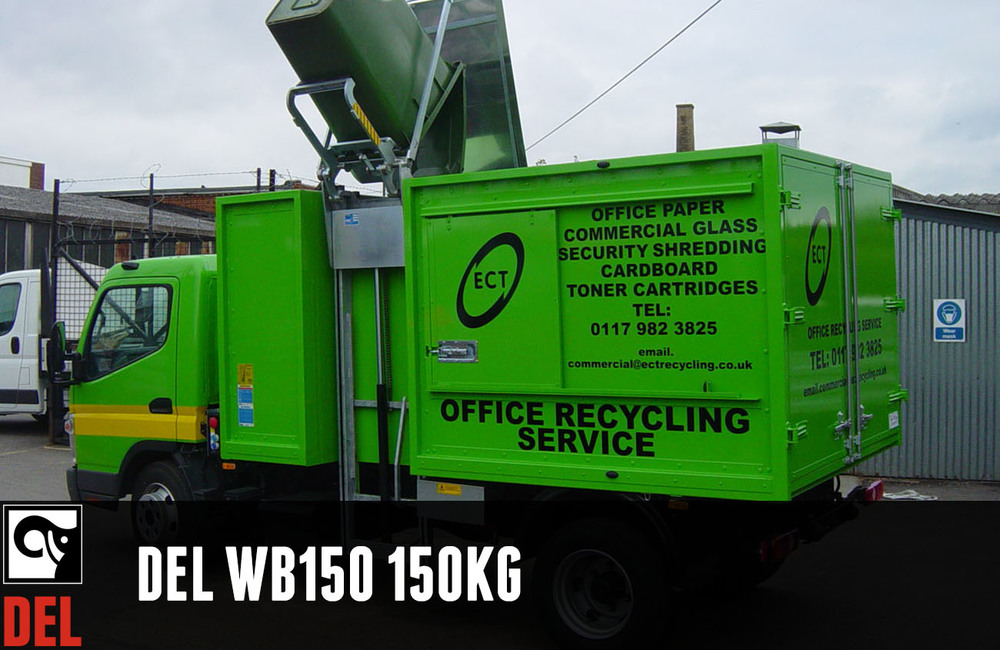 Wheelie bin lift with 150 kg lifting capacity