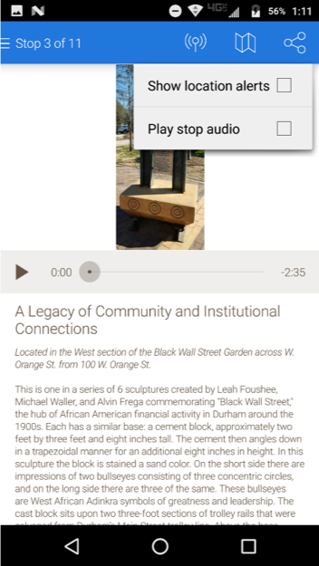 Screenshot of art installation description on the dada app