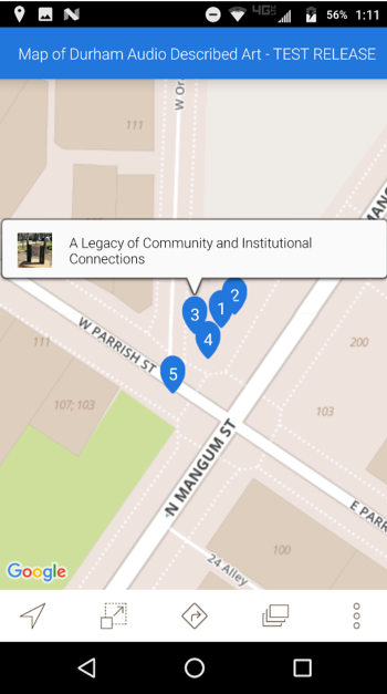 screenshot of a google map showing where the DADA-enabled art installations are located