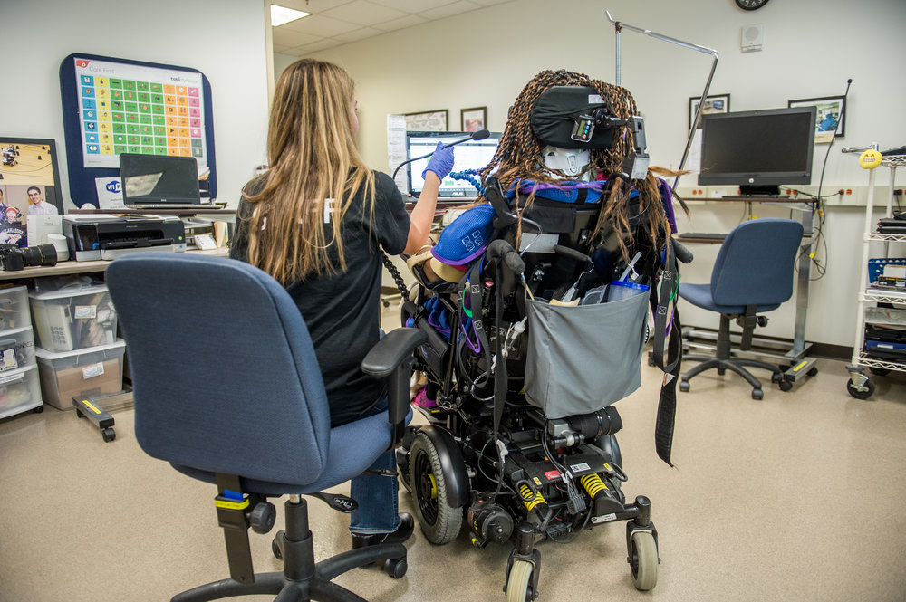 May 31, 2018 - Atlanta, Georgia, United States -  Shepherd SLP Adina Bradshaw with patient Debra Smith of Augusta.