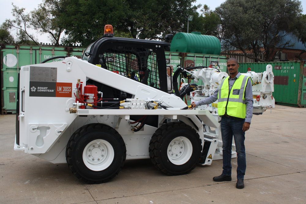 Master Drilling's senior SHERQ officer, Mr T. Booysen, at the first demonstration of the LM30SS in South Africa.