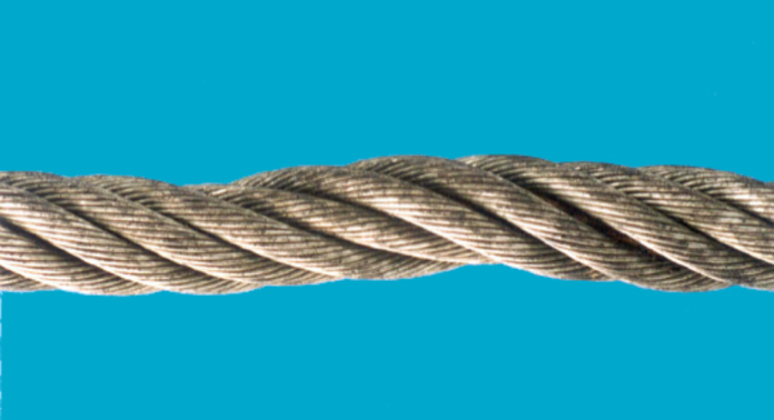 Reduction in rope diameter due to failure of the inner core.