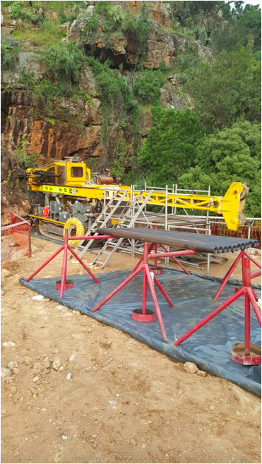 Drill site near Kylemore where Master Drilling is currently drilling horizontal diamond core holes into the Hottentots-Holland mountains.