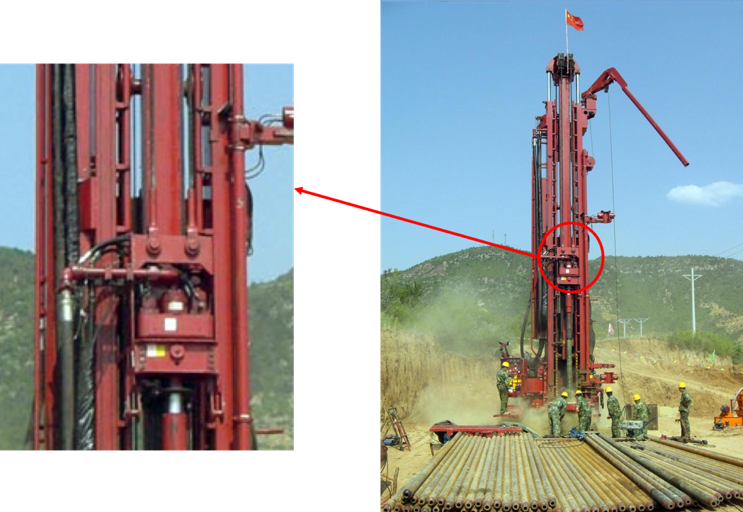 Pullback arrangement of the 130 000lb pullback drill rig - note the two pullback ropes attached to the rotation head.
