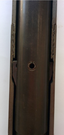 The inner-tube has landed and is seated in the landing ring – in this position, the latches open outwards into the recess milled into the top of the adaptor coupling. Note how the top of the latches are stopped from moving upwards by the shoulder on the base of the locking coupling.