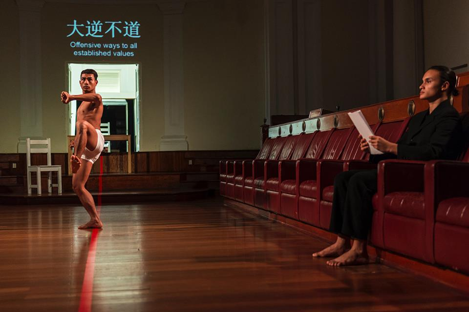 A still from the piece directed by Danny Yung in the Arts House Chamber. Image: Emergency Stairs