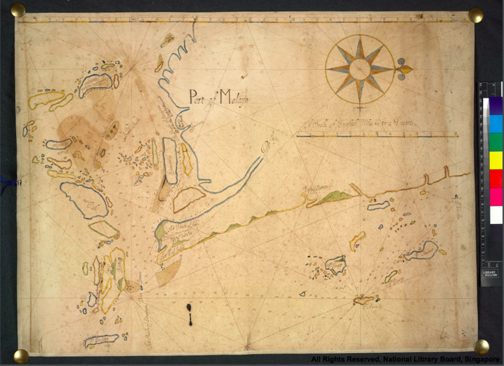 Thomas Bowrey's 1690 navigation chart of the Singapore Straits, with Singapore marked as 'Sincapura' and Pulau Nipa with three trees. Download a high-resolution version  here , courtesy of the British Library and the National Library Board.