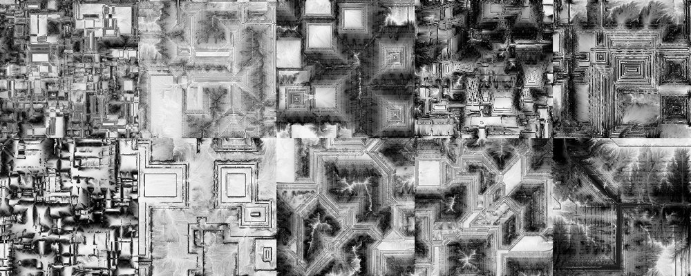 The 10 Deposition Maps of the different Landscapes