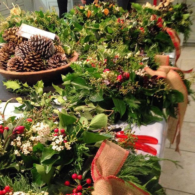 A table full of finished wreaths - not sure where all the ladies have gone to!! #wreath workshop