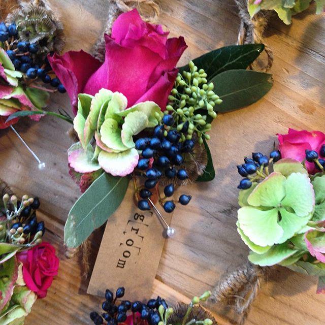 Grooms Buttonholes. #berries #autumn #weddingflorist