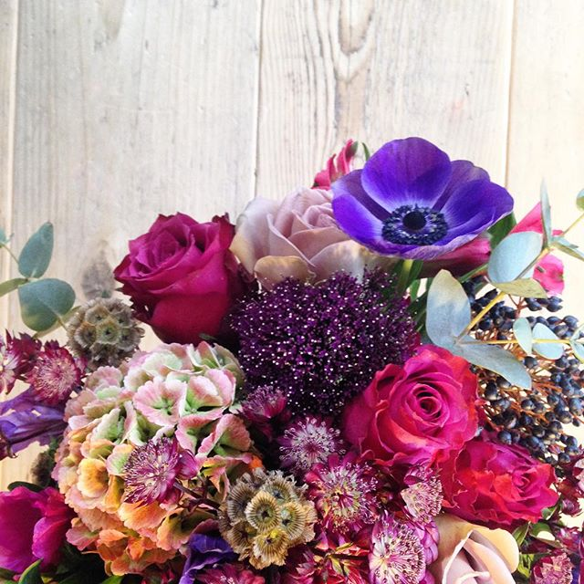 Last weekend's bridal bouquet. Gorgeous berry tones. #autumn #autumnwedding #weddingflorist