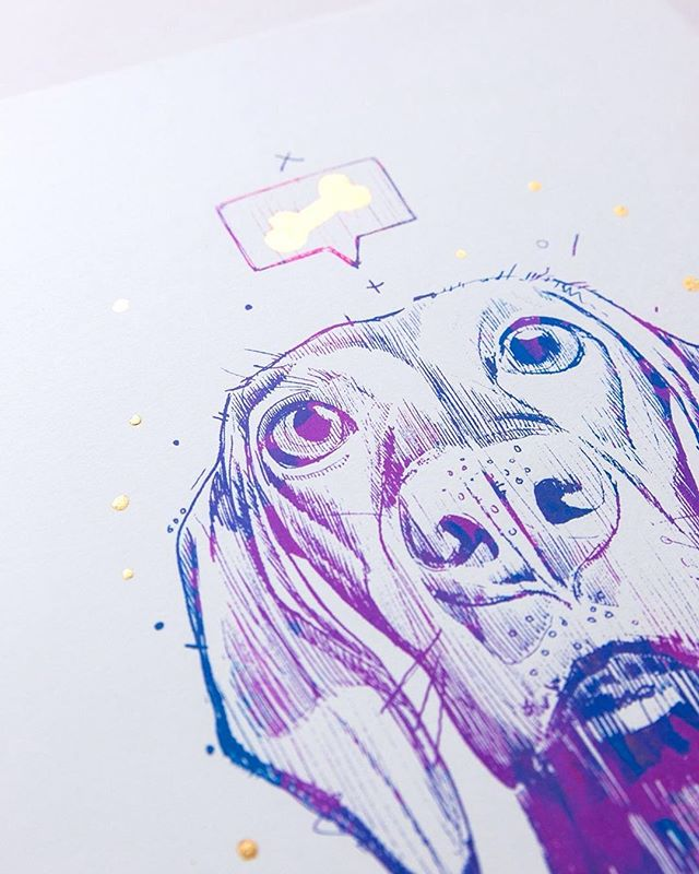 Detail of previous post. The Gold Leaf on these screen prints looks sssssoooo ssssseeeexxxyyyyy reflecting in the light. Do you want to own one? Only 3 left... . . . . . #dog #screenprint #goldleaf #weimaraner #animalart #Graphic #originalartwork #MrGo #illustration #instaart #drawing #artistsofig #artforsale #buyart #Collectart #artist #artfido #fromupnorth #mixedmediaart #limitededition #sketch #Urbanart #cool #popart #instaartist #blue #GalleryOfNow #artoftheday #aotd
