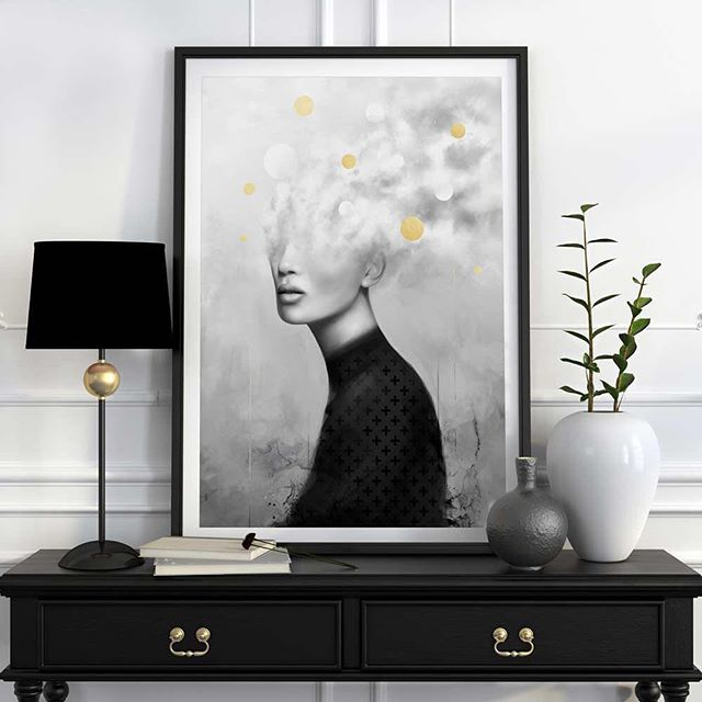 Framed up 'Get Away'. This beaut's embellished with 24ct gold in as near perfect circles as humanly possible. I've gilded so many circles now that I just do it with my eyes shut for a laugh. Available from my store.⠀ .⠀ .⠀ .⠀ .⠀ .⠀ #limitededitionprint #portrait #portraitart #portraitdrawing  #fromupnorth #Urbanartist #MadewithWacom #MrGo #limitededition #digitalpainting #digitalart #digitalartist  #Cintiq #art #artistsdrop #Surrealism #artprint #portraiture #meditation #blackandwhiteart #monochrome #blackandwhiteart  #interiordesign #affordableart #instaliving #posterlove #homedecor #interior_and_living #nordicstyle #homestyling ⠀