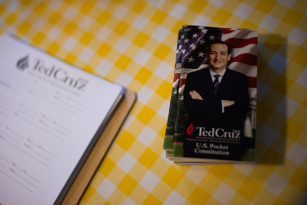 Copies of the United States Constitution handed by the campaign of Republican presidential candidate Ted Cruz sit on a table during a campaign stop at Tiger Den restaurant in Lenox, Iowa, on Nov. 28, 2015.