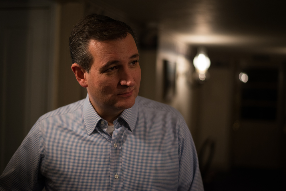 Republican presidential candidate Ted Cruz looks on after an interview with a Guardian US reporter in Amana, Iowa, on Nov. 29, 2015.