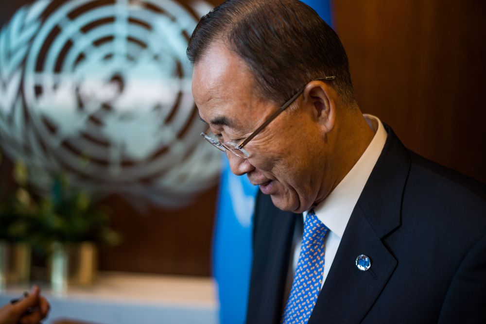 United Nations Secretary-General Ban Ki-moon stands in the conference room of the UN headquarters before an interview with the Guardian in New York on August 28, 2015.