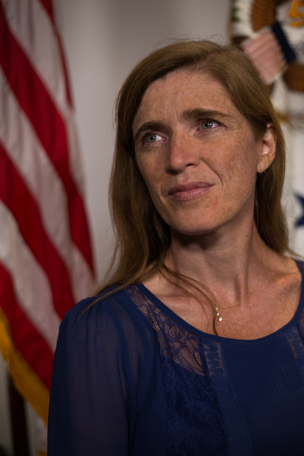 Samantha Power, the United States permanent representative to the United Nations, looks on after an interview with the Guardian in New York on Sept. 3, 2015.
