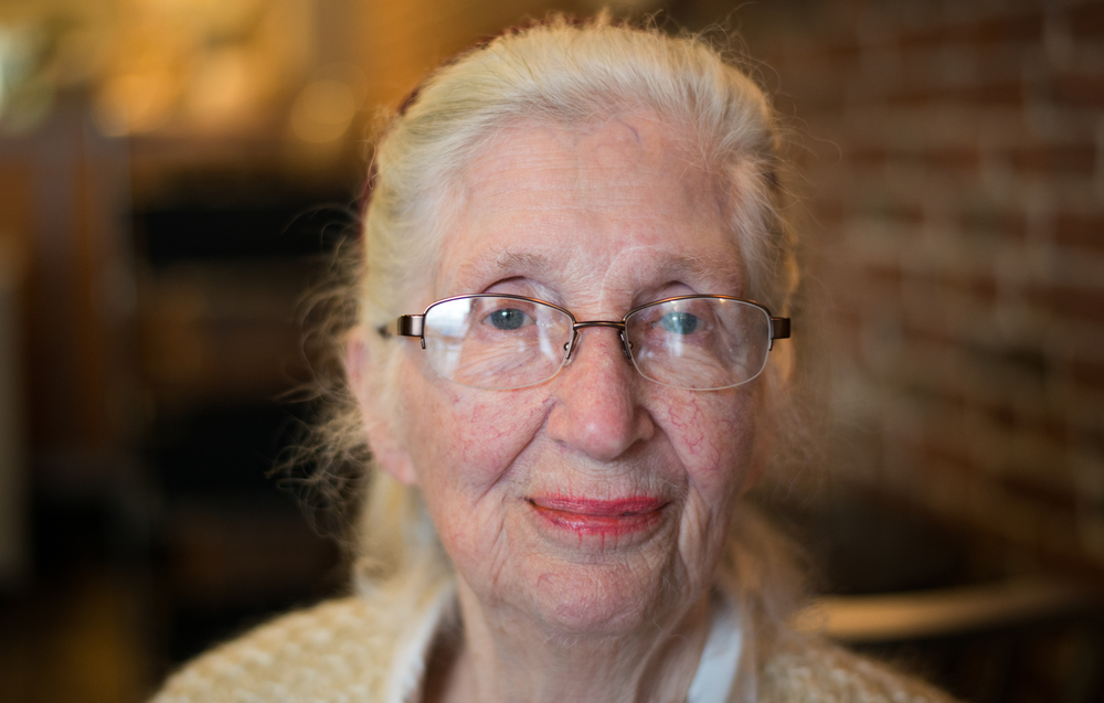Linn Duvall Harwell, a 92-year-old feminist activist and volunteer with the campaign of Democratic presidential candidate Hillary Clinton, poses for a portrait at Live Juice bar in Concord, New Hampshire, on Jan. 29, 2016.