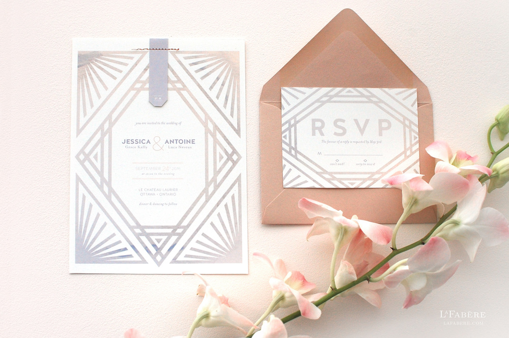 Art Deco wedding invitation design by LaFabère. lafabere.com
