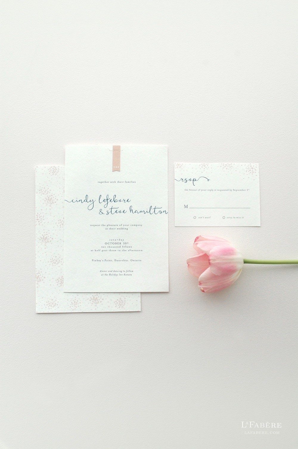 Delicate & Whimsical wedding invitation design by LaFabère. lafabere.com