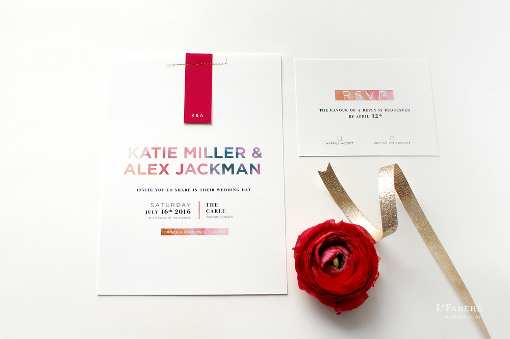 Modern Floral wedding invitation design by LaFabère – lafabere.com