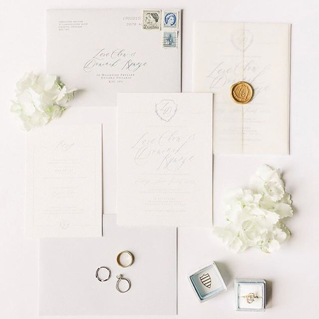 I'm so honoured @lara_chow trusted me to design this invitation suite for her and her groom. @stylemepretty Featured her stunning wedding today, which was filled either so many gorgeous details ✨ The suite turned out beautifully, with a custom hand drawn monogram, which was used for the antique gold wax seal, through to the menus and little details like the menus, table numbers and seating chart.  Photos by the oh so talented @amypinderphoto  Florals @wearepollennation  Decor & styling @makinitlovely  Venue @lebelvedere