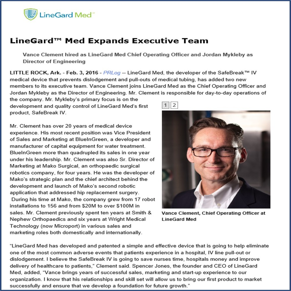 LineGard Med Expands Executive Team