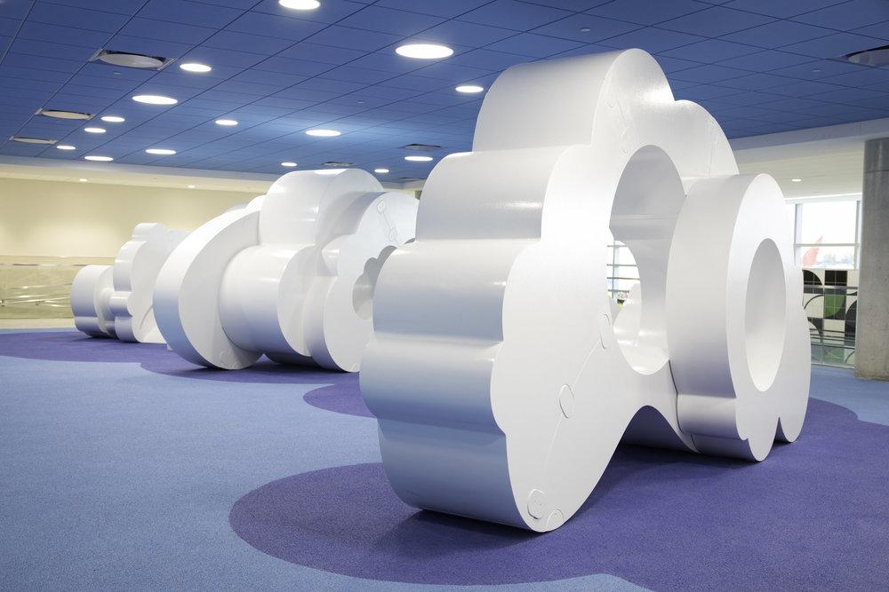 "VA I Design, Volkan Alkanoglu's ""Cloudscape""  with Ignition Arts, LLC.  installed in Fort Lauderdale Airport, FL"