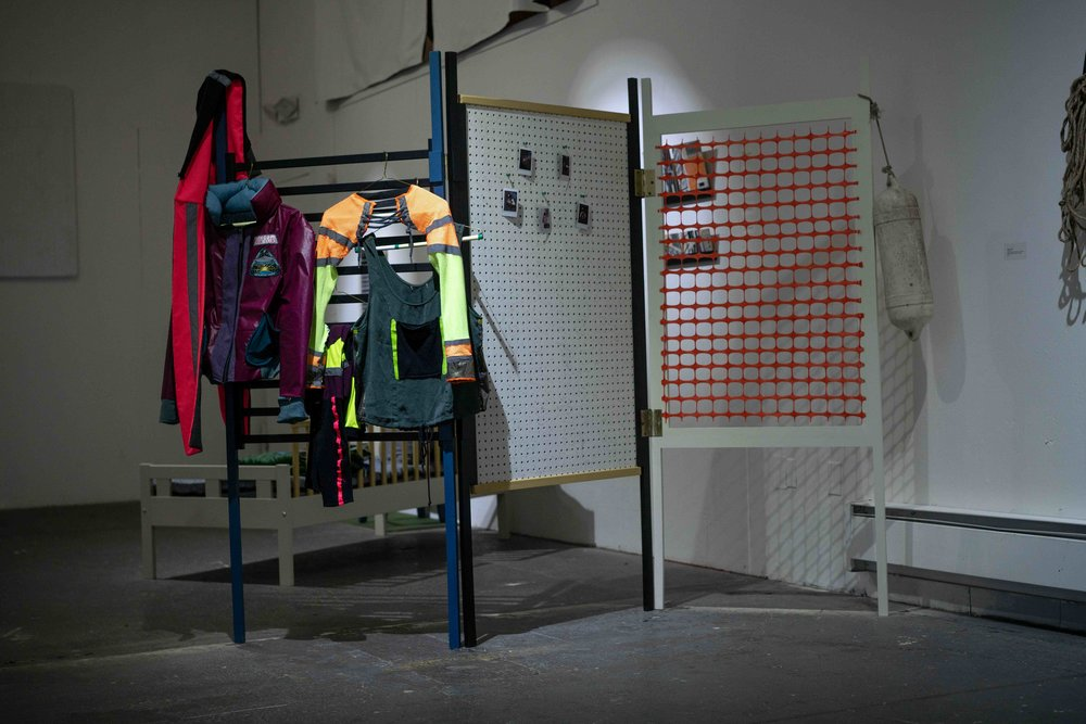 the dividing line (room divider), 2018    construction netting, pegboard, baby crib, pine, milkpaint, hardware
