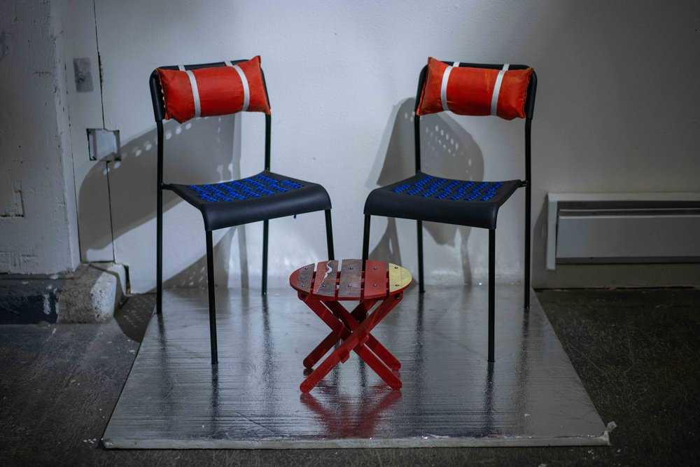 a tendency to float, 2018  IKEA chair set, life jacket, rope, strapping
