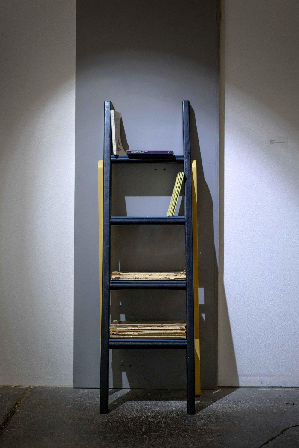 progress, 2018    bunkbed ladder, baby crib, laminate flooring, milkpaint, hardware