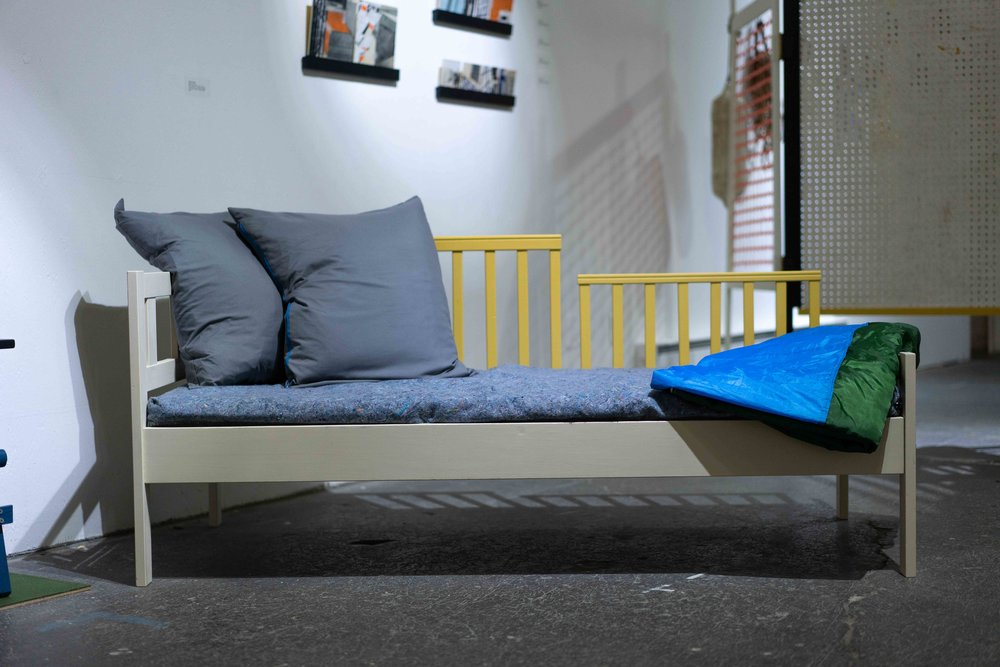marry me to the sky, 2018  IKEA toddler's bed, milkpaint, moving blanket, tent, sleeping bag, sheet, baby crib, paint, hardware